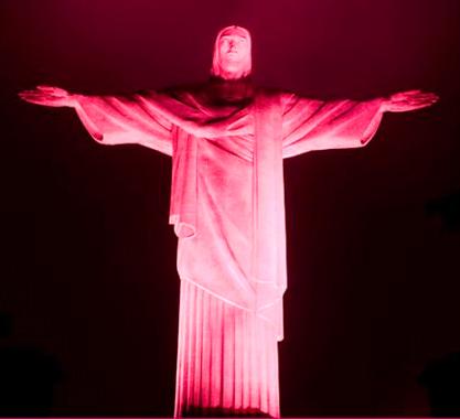 Cristo Redentor iluminado com as cores da campanha - Divulgação