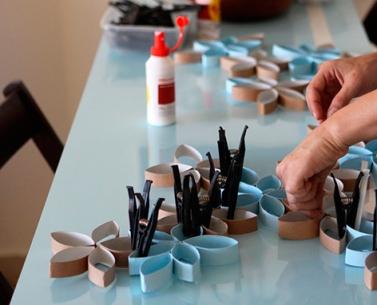 decoração com rolo de papel higiiênico